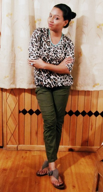 Leopard Print Top with Olive Green Pants : OOTD