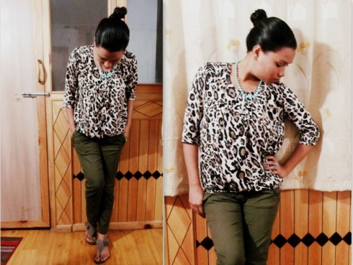 Leopard-Print-Top-with-Olive-Green-Pants -OOTD
