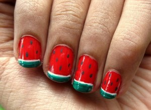 Watermelon Nail Art – Tutorial and Photos