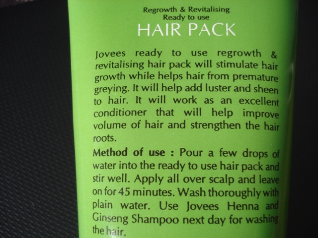 31436a78a97 Jovees Regrowth and Revitalising Ready To Use Hair Pack Review