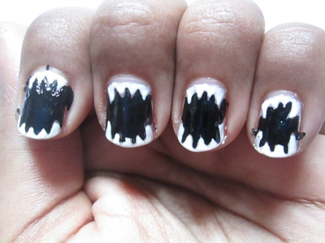 Nail art designs black and white step by step simple and easy view images areas of the nails with black nail art bottle prinsesfo Choice Image