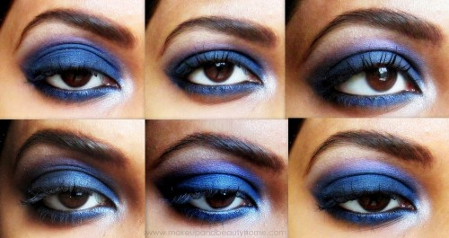 intense blue smokey eye makeup