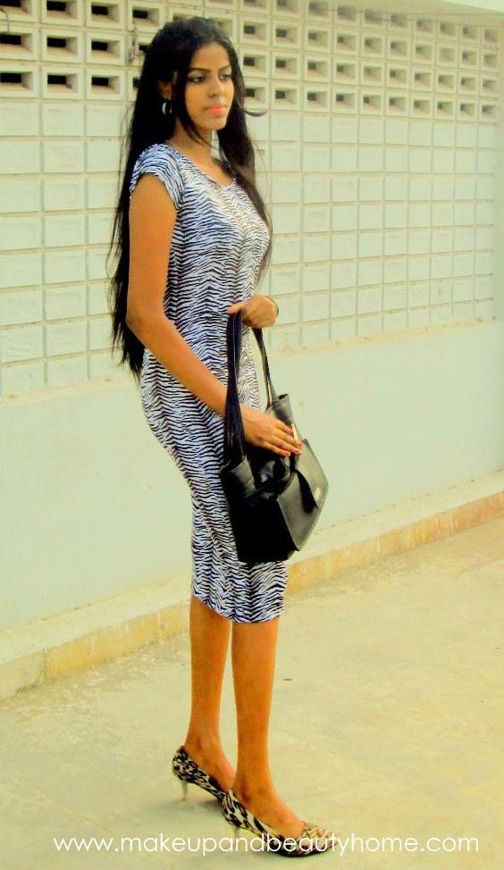 zebra maxi dress leopard pumps ootd
