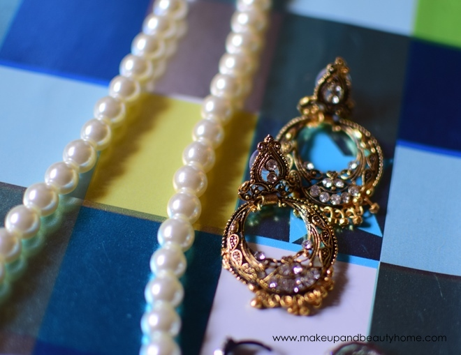 pearl chain and earrings
