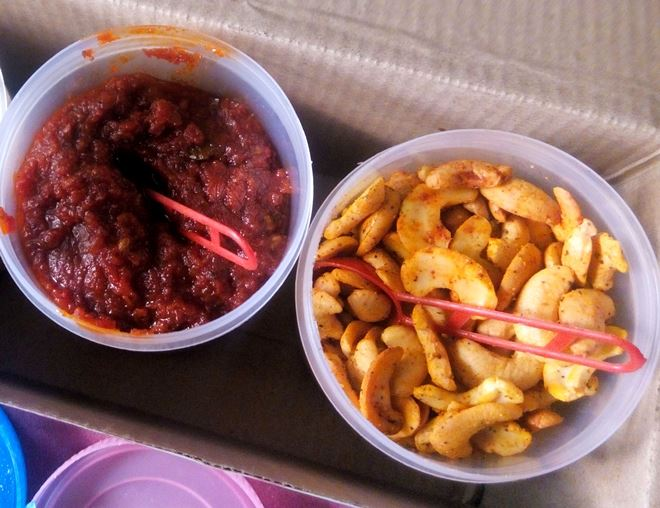 tomato pickle and masala fried cashews