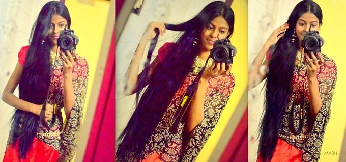mirror selfie with long hair