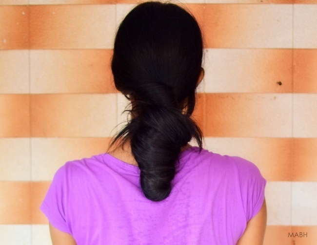 loose hair bun long black hair