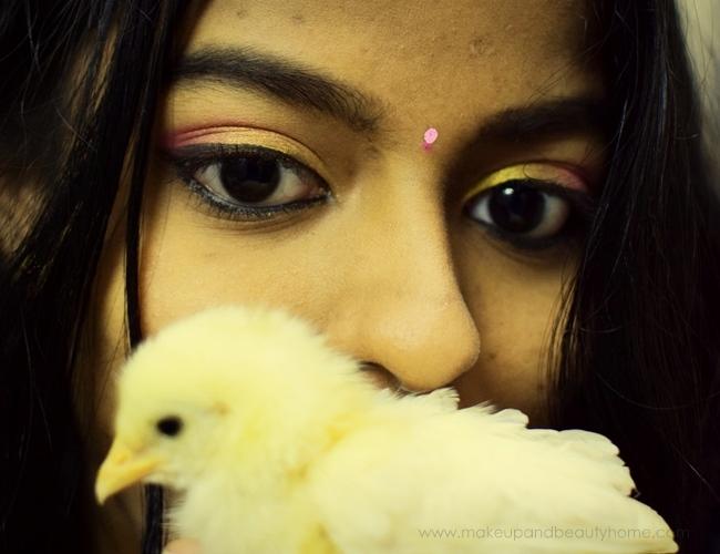 pink gold eye makeup photo