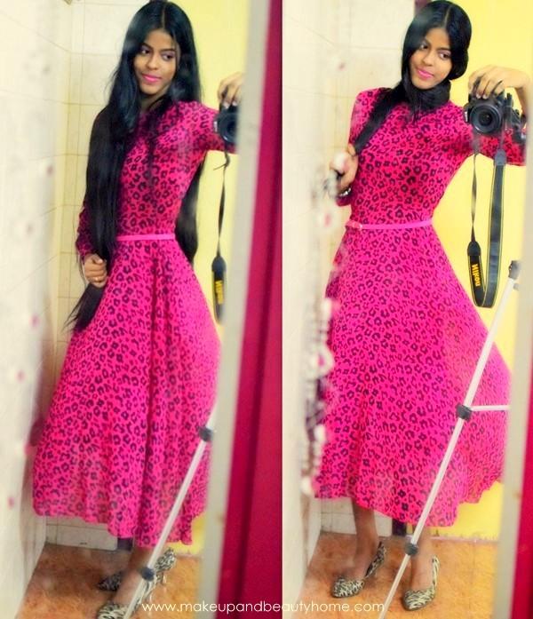 pink leopard printed maxi dress