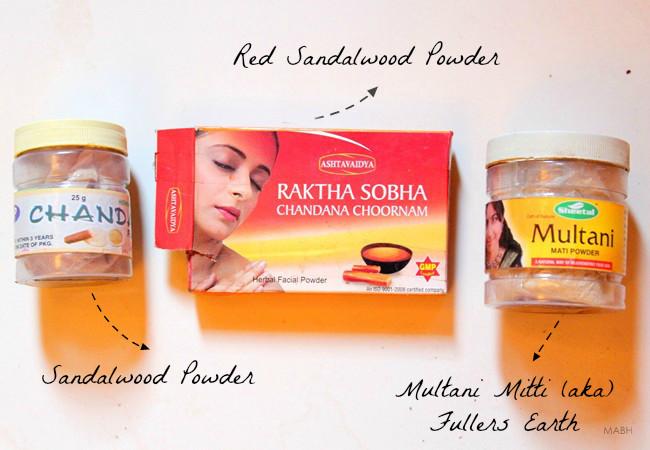 sandalwood, red sandalwood, multani mitti
